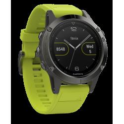 Спортивные часы FENIX 5 серые с желтым ремешком